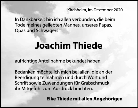 Danksagung Joachim Thiede <br><p style=