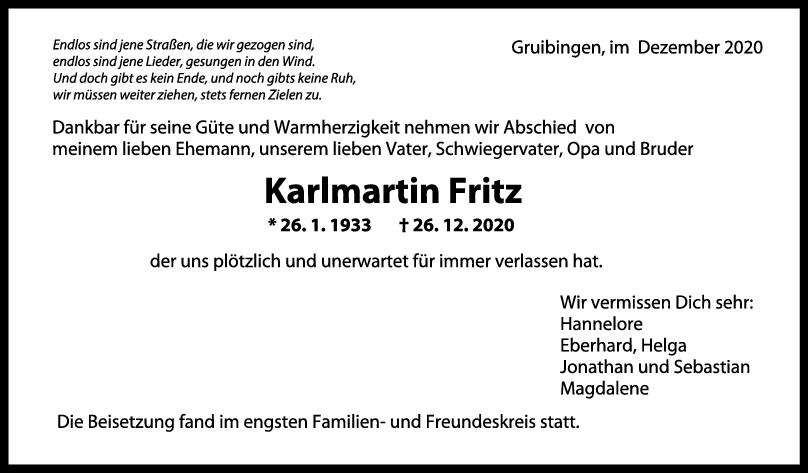 Trauer Karlmartin Fritz <br><p style=