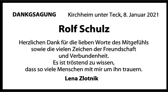 Danksagung Rolf Schulz <br><p style=