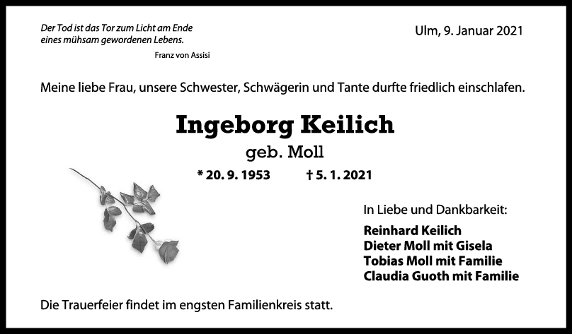 Trauer Ingeborg Keilich <br><p style=
