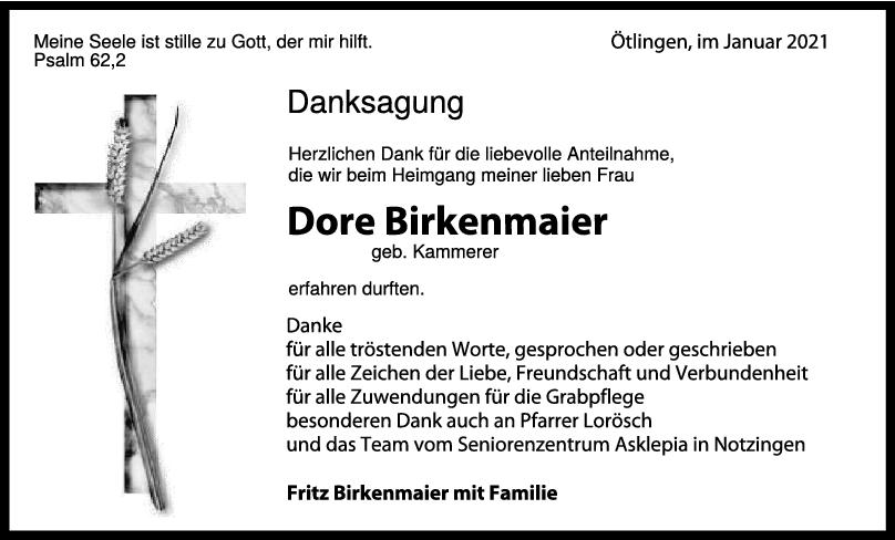 Danksagung Dore Birkenmaier <br><p style=