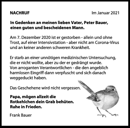 Nachruf Peter Bauer <br><p style=