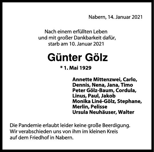 Trauer Günter Gölz <br><p style=
