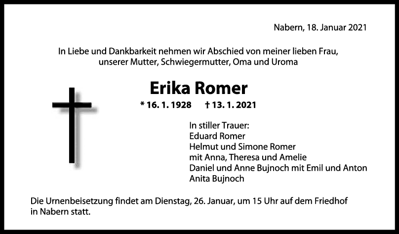Trauer Erika Romer <br><p style=