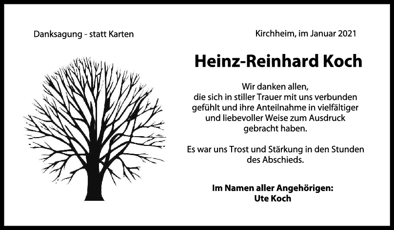 Danksagung Heinz-Reinhard Koch <br><p style=