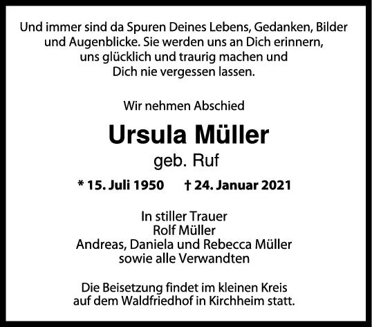 Trauer Ursula Müller <br><p style=