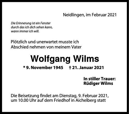 Trauer Wolfgang Wilms <br><p style=