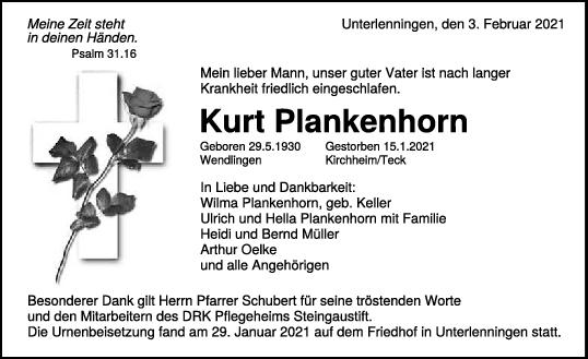 Trauer Kurt Plankenhorn <br><p style=