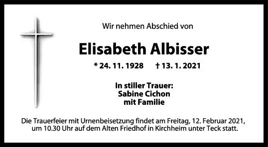 Trauer Elisabeth Albisser <br><p style=