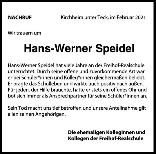 Nachruf Hans-Werner Speidel <br><p style=