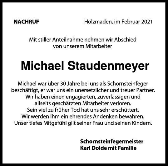 Nachruf Michael Staudenmeyer <br><p style=