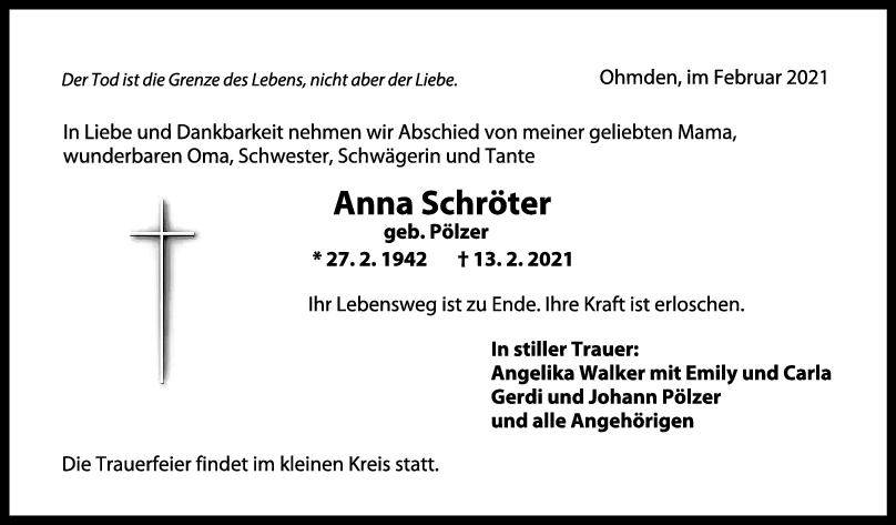 Trauer Anna Schröter <br><p style=