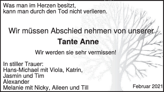 Trauer Tante Anne <br><p style=