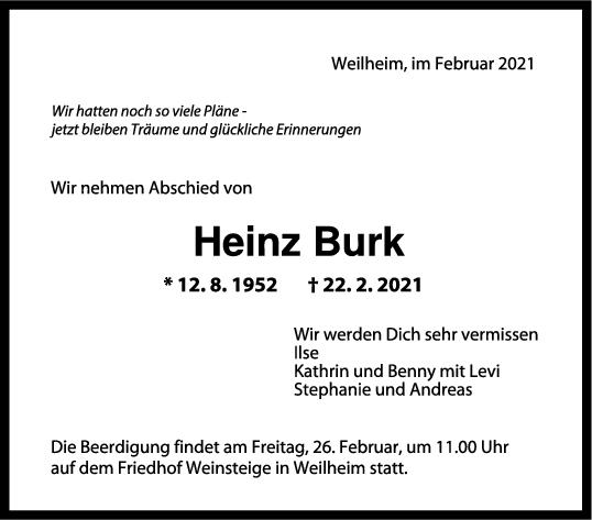 Trauer Heinz Burk <br><p style=