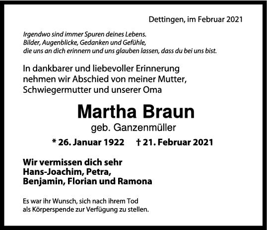 Trauer Martha Braun <br><p style=