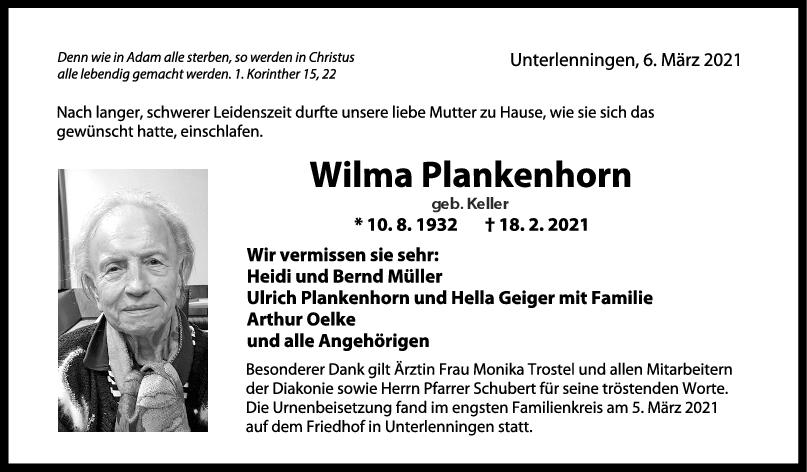 Trauer Wilma Plankenhorn <br><p style=