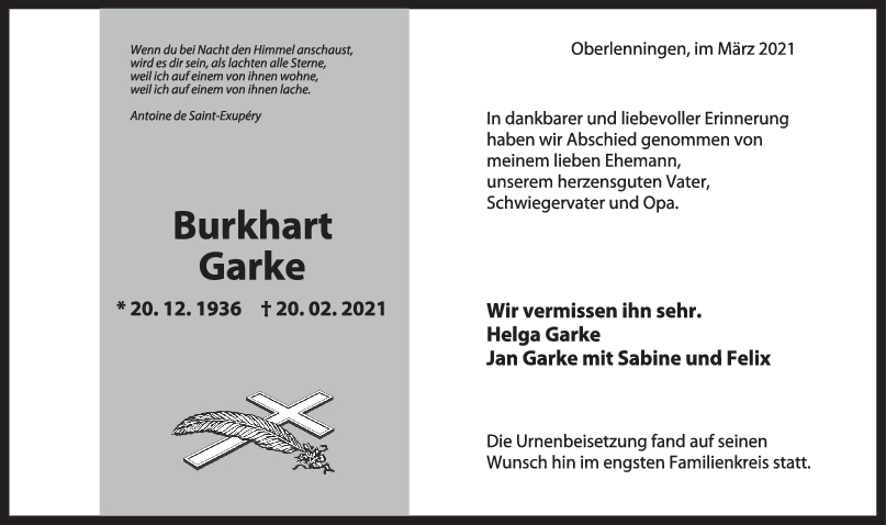 Trauer Burkhart Garke <br><p style=