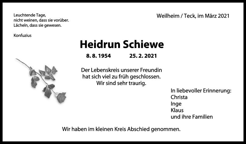 Trauer Heidrun Schiewe <br><p style=