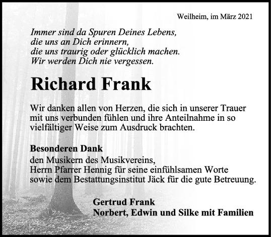 Danksagung Richard Frank <br><p style=