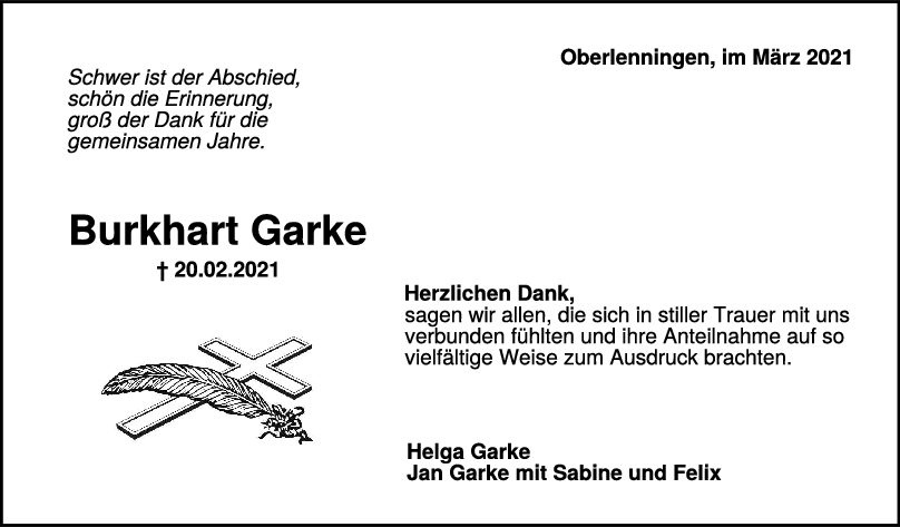 Danksagung Burkhart Garke <br><p style=