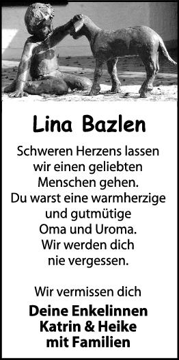 Trauer Lina Bazlen <br><p style=