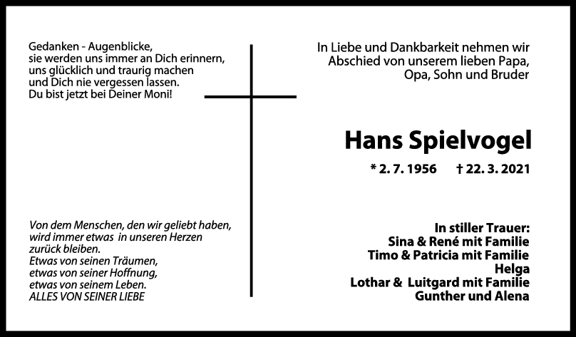 Trauer Hans Spielvogel <br><p style=