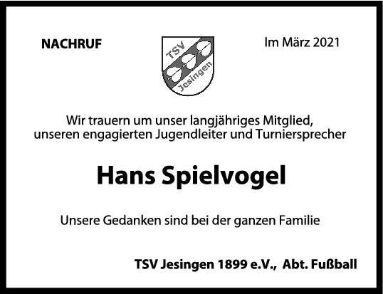 Nachruf Hans Spielvogel <br><p style=