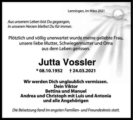 Trauer Jutta Vossler <br><p style=