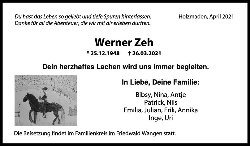 Trauer Werner Zeh <br><p style=