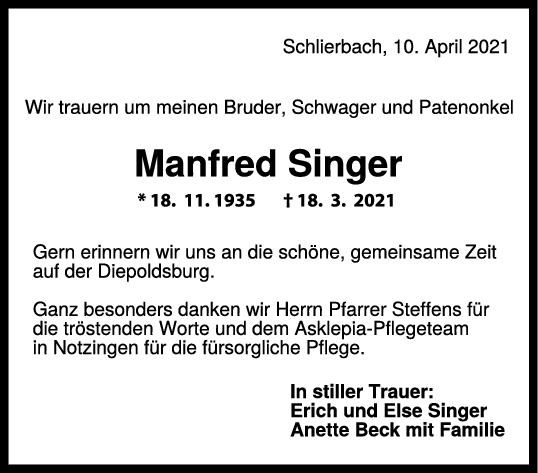 Trauer Manfred Singer <br><p style=