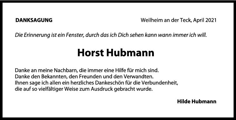 Danksagung Horst Hubmann <br><p style=