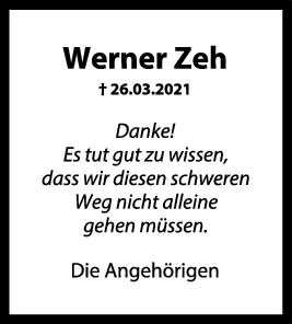 Danksagung Werner Zeh <br><p style=