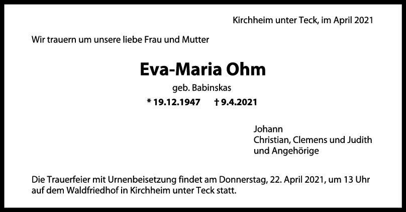 Trauer Eva-Maria-Ohm <br><p style=