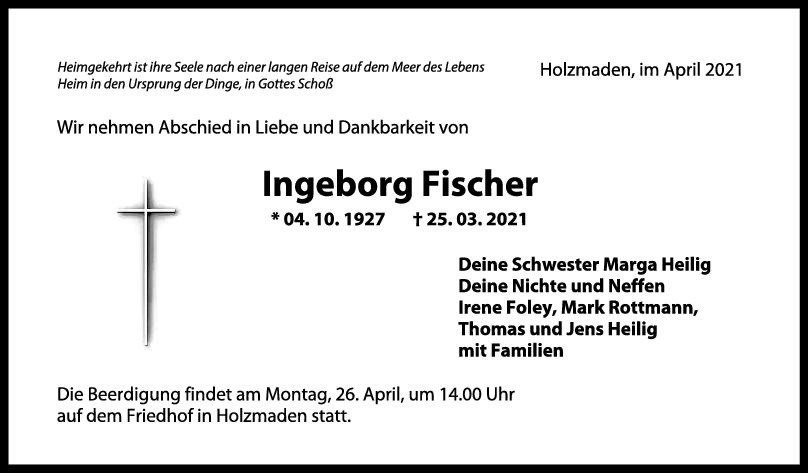 Trauer Ingeborg Fischer <br><p style=
