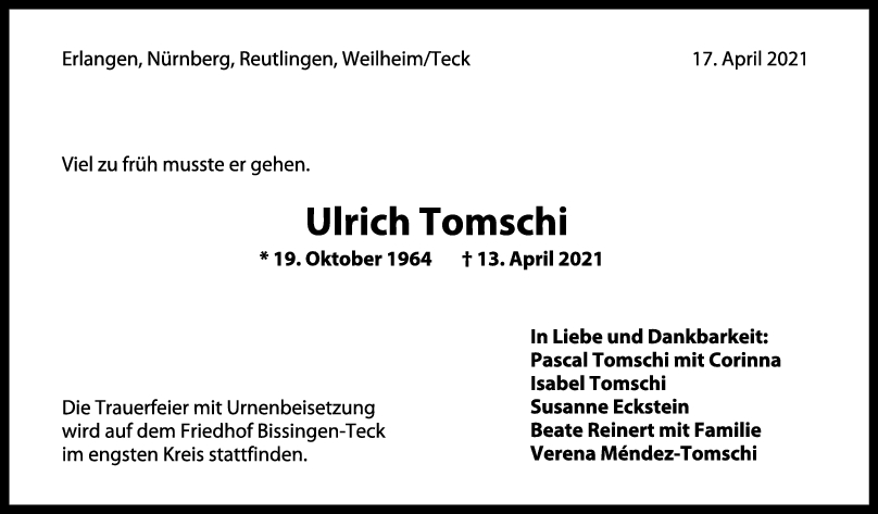 Trauer Ulrich Tomschi <br><p style=