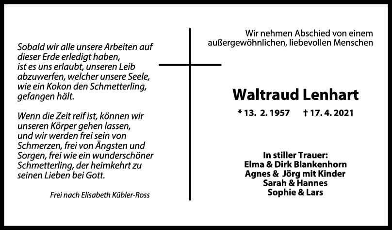 Trauer Waltraud Lenhart <br><p style=