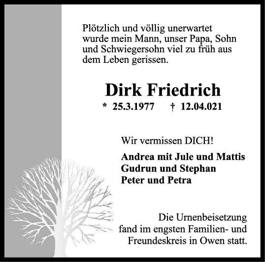 Trauer Dirk Friedrich <br><p style=