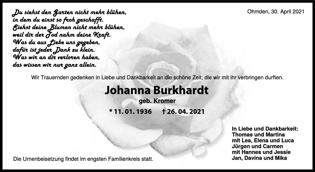 Trauer Johanna Burkhardt <br><p style=