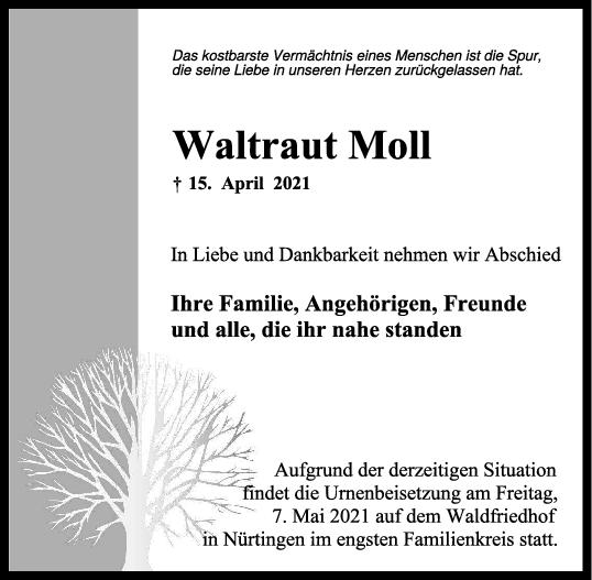 Trauer Waltraut Moll <br><p style=