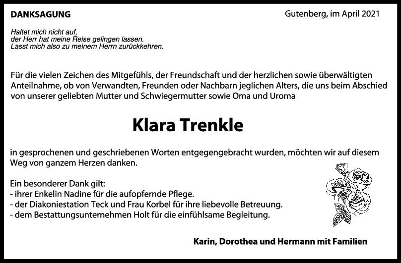 Danksagung Klara Trenkle <br><p style=