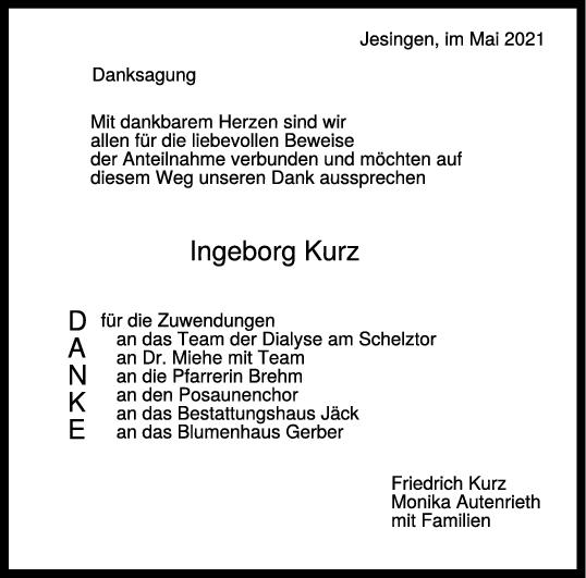 Danksagung Ingeborg Kurz <br><p style=