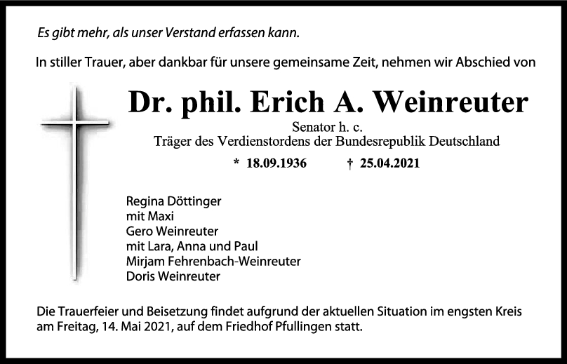 Trauer Erich A. Weinreuter <br><p style=