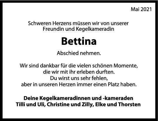 Nachruf Bettina <br><p style=
