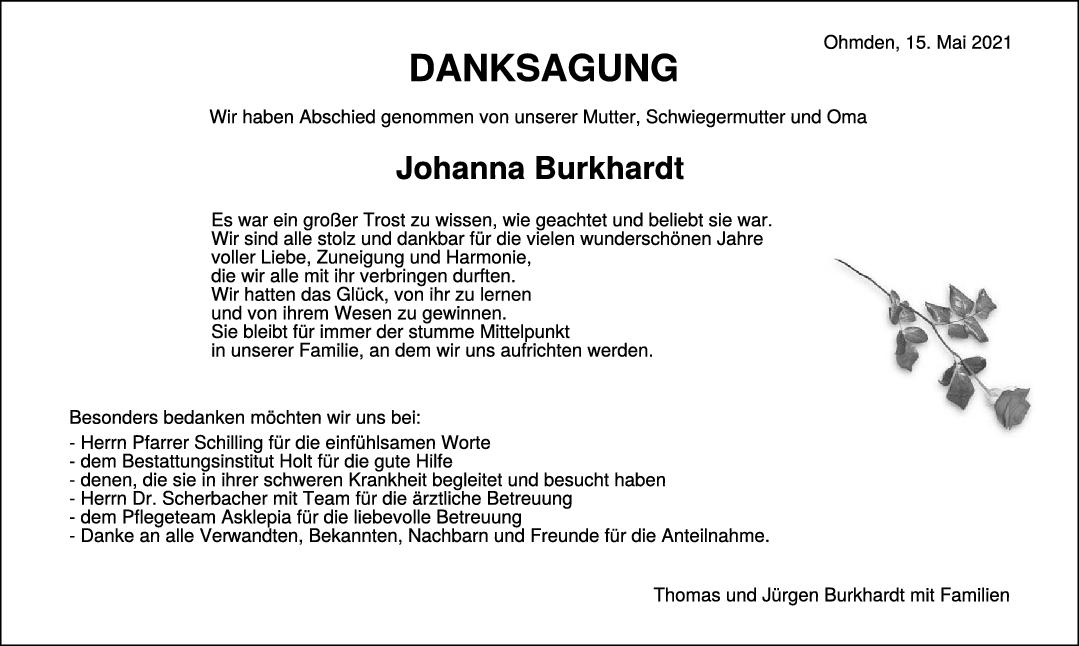 Danksagung Johanna Burkhardt <br><p style=