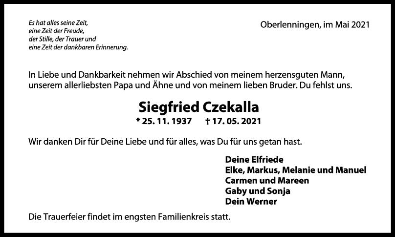 Trauer Siegfreid Czekalla <br><p style=