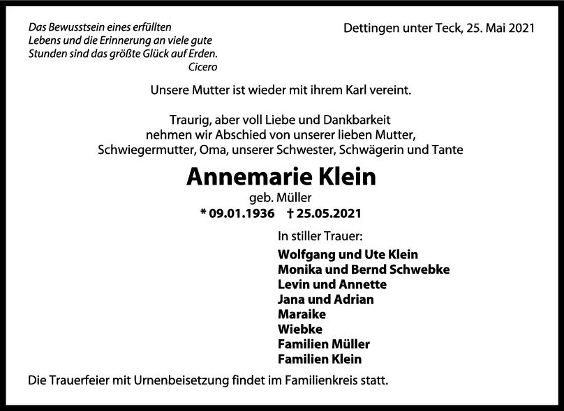 Trauer Annemarie Klein <br><p style=