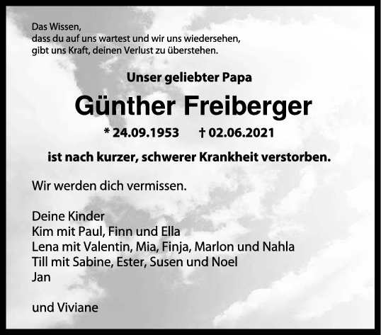Trauer Günther Freiberger <br><p style=