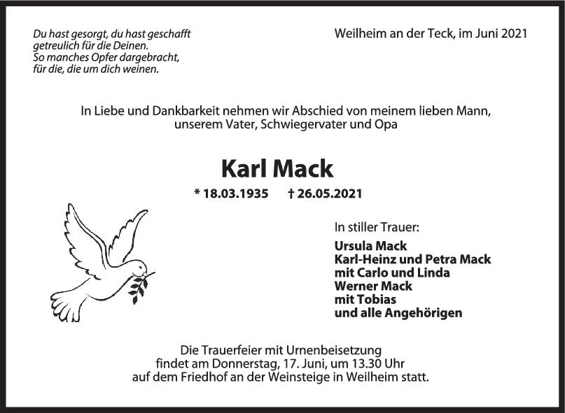 Trauer Karl Mack <br><p style=