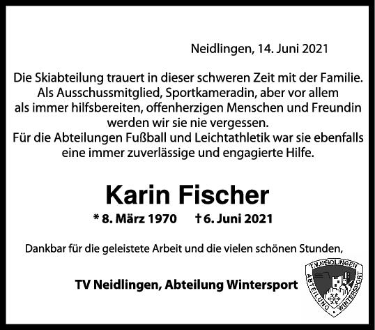 Trauer Karin Fischer <br><p style=
