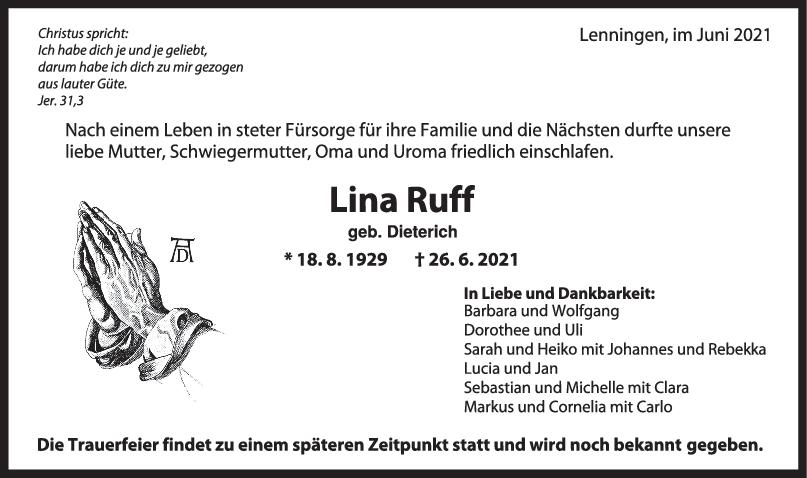 Trauer Lina Ruff <br><p style=